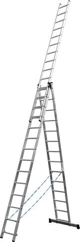 Лестница СИБИН универсальная,трехсекционная со стабилизатором, 14 ступеней