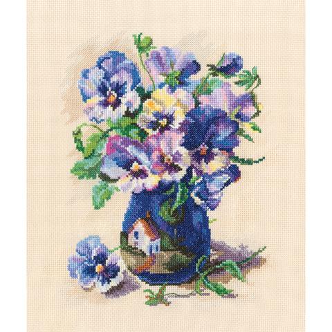Коллекция:Цветы¶Название по-английски:Pansies in torguay pottery¶Название по-русски:Анютины глазк