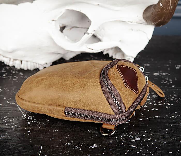 BAG517-2 Поясная сумка из натуральной кожи песочного цвета фото 04