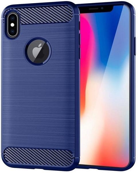 Чехол для iPhone X цвет Blue (синий), серия Carbon от Caseport