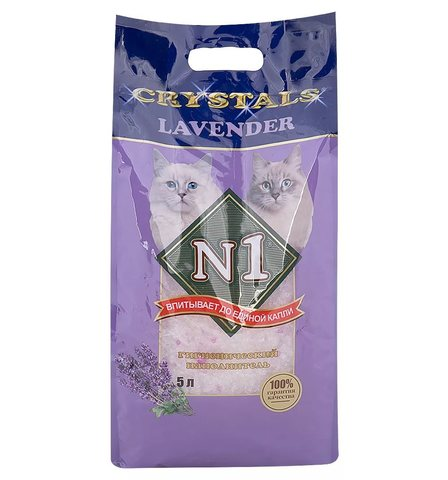 Наполнитель силикагелевый Litter N1 Crystals - «LAVENDER» - silica gel