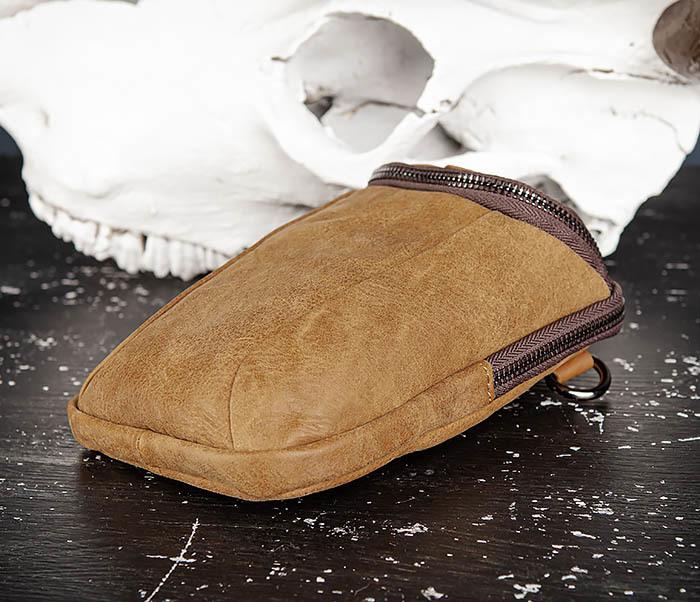 BAG517-2 Поясная сумка из натуральной кожи песочного цвета фото 05