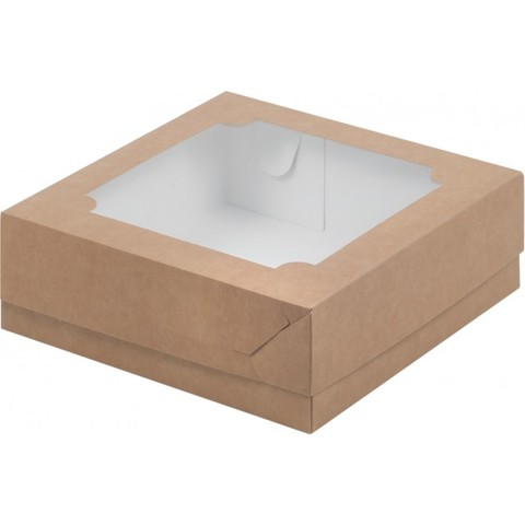 Коробка под зефир и печенье с окном, 20*20*7см, крафт