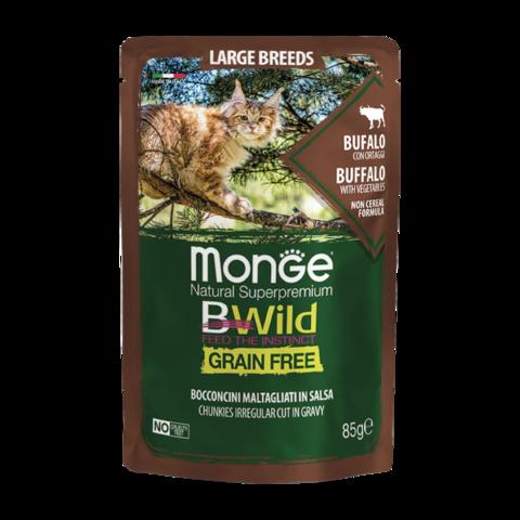 Monge Cat BWild Grain Free Консервы для взрослых кошек крупных пород из мяса буйвола с овощами, беззерновые (пауч)