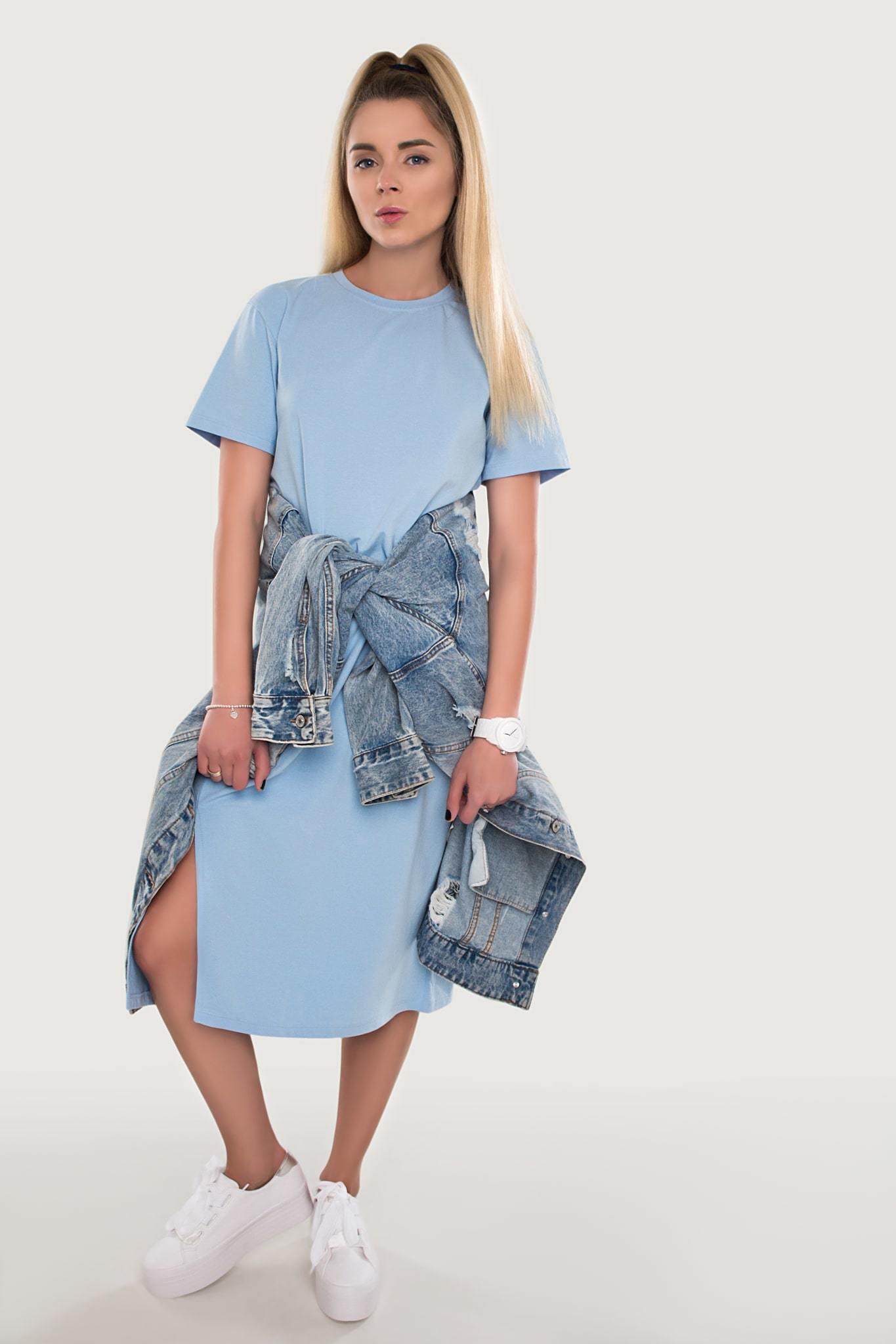 Платье хлопковое голубое