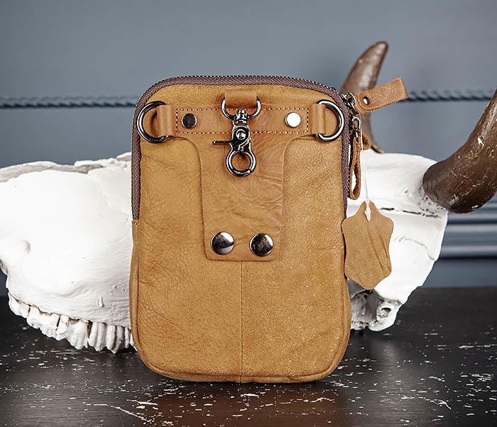 BAG517-2 Поясная сумка из натуральной кожи песочного цвета фото 06