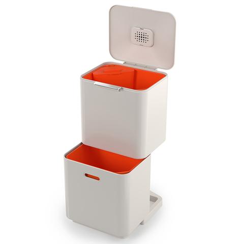 Контейнер для мусора с двумя баками Totem Max 60 л белый