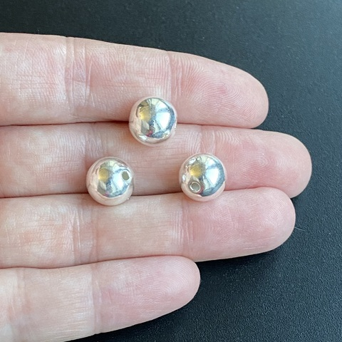 Бусина гладкий шарик 10 мм серебро 925