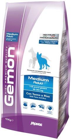 Gemon Dog Medium Сухой корм для взрослых собак средних пород с тунцом и рисом