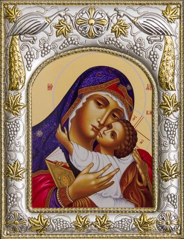 Серебряная икона Божья Матерь Умиление 18x14см