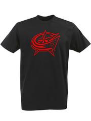 Футболка с однотонным принтом НХЛ Коламбус Блю Джекетс (NHL Columbus Blue Jackets) черная 003