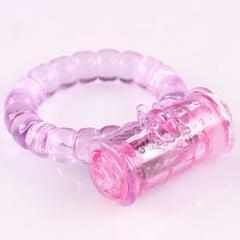 Розовое виброкольцо на пенис  из силикона