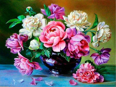 Картина раскраска по номерам 30x40 Розово-белый букет в черной вазе