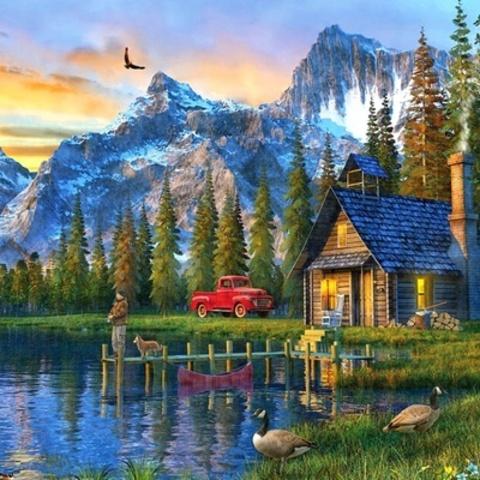 Картина раскраска по номерам 50x65 Дом у гор и реки (арт. RA3347)