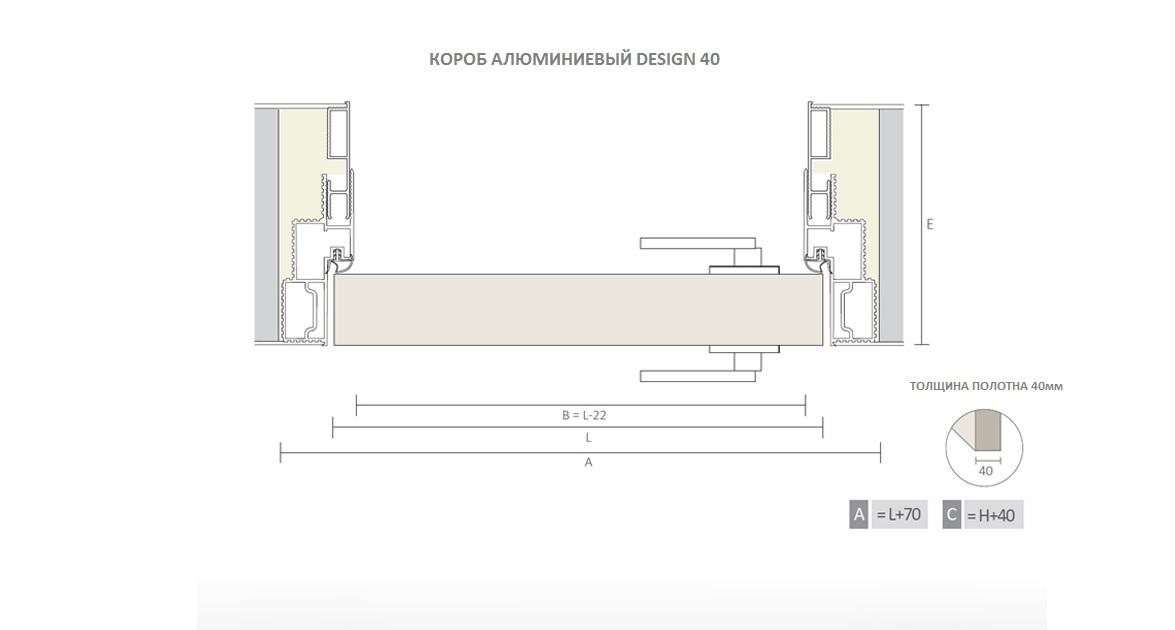 Короб алюминиевый DESIGN 40 разрез горизонтальный чертеж