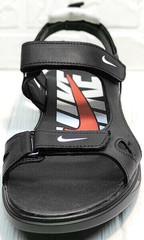 Кожаные сандали босоножки на липучке мужские Nike 40-3 Leather Black.