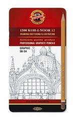 Набор чернографитных карандашей 1502 GRAPHIC 5B-5H, 12шт, металл.коробка