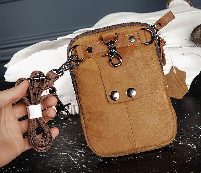 BAG517-2 Поясная сумка из натуральной кожи песочного цвета фото 09