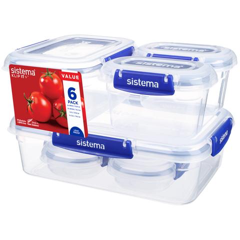 """Набор герметичных контейнеров Sistema """"KLIP IT+"""", 6шт., 2 х 180 мл, 2 х 400 мл, 1 х 1 л, 1 х 2,2 л"""