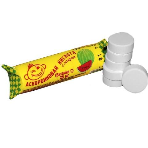Аскорбиновая кислота с сахаром 25 мг №10 со вкусом арбуза 1кор*12бл*20шт