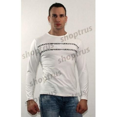Мужская футболка с длинным рукавом белая EMPORIO ARMANI FDR0074