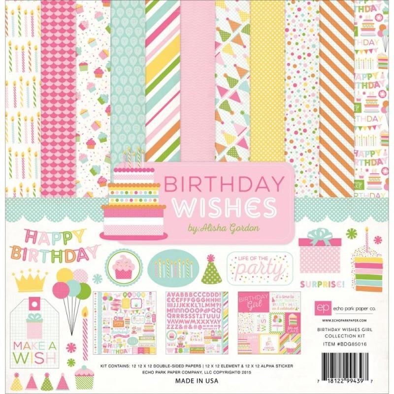 Кит - набор бумаги Birthday Wishes Girl 30х30см