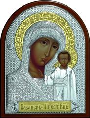 Серебряная с золочением икона Божией Матери Казанская 25х19см