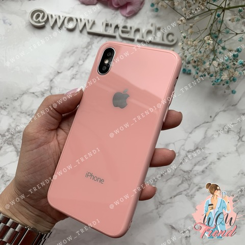 Чехол iPhone X/XS Glass Full color Case Logo /pink/