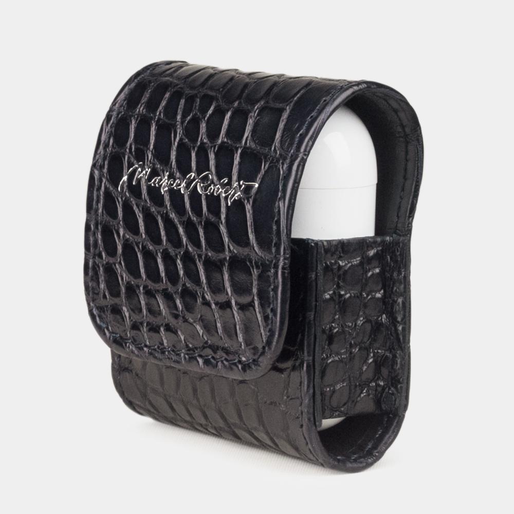 Чехол-держатель для наушников Petit Bisness из натуральной кожи аллигатора, темно-синего цвета