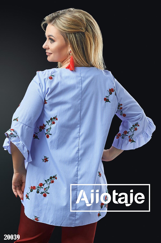 Блузка в полосочку с цветочной вышивкой