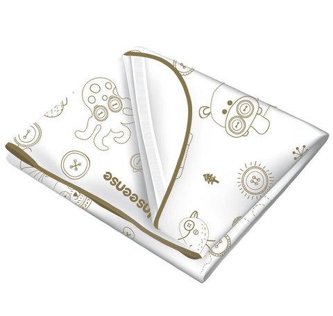 INSEENSE. Наматрасник ПВХ с резинками-держателями и окантовкой 70x100 см, белый с рисунком