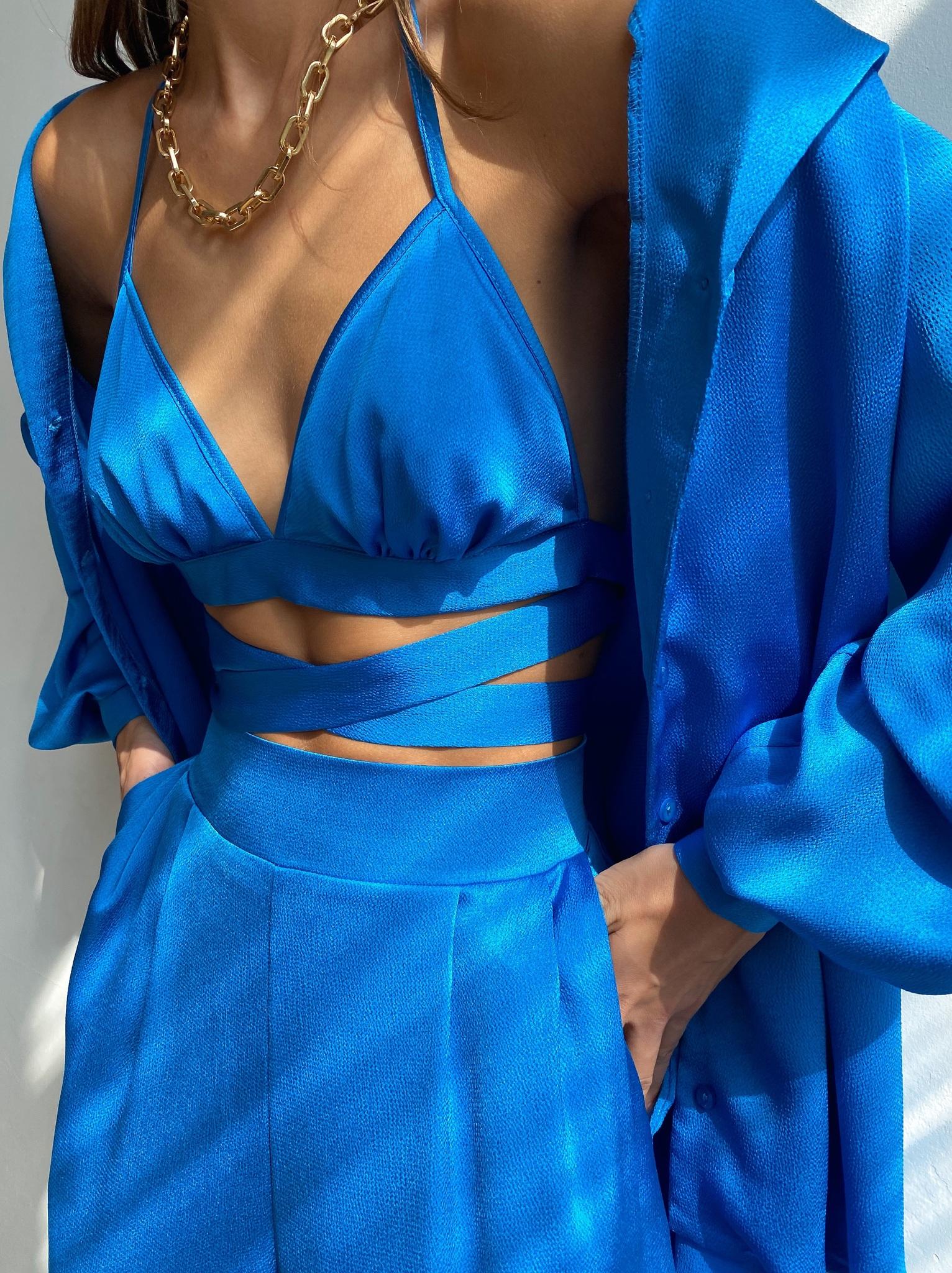 Костюм пижамный тройка  (рубашка, брюки и топ) (ярко-голубой)