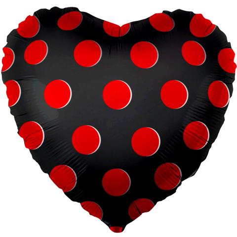 Шар Сердце Черное, Красные точки, 46 см