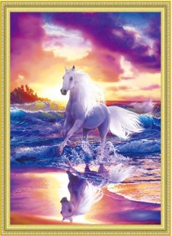 Алмазная Мозаика 50x65 Белый конь бежит по берегу моря