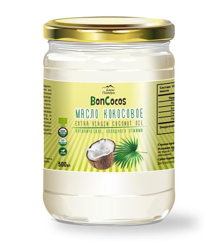 Масло кокосовое холодного отжима BONCOCOS, органическое, 500 мл