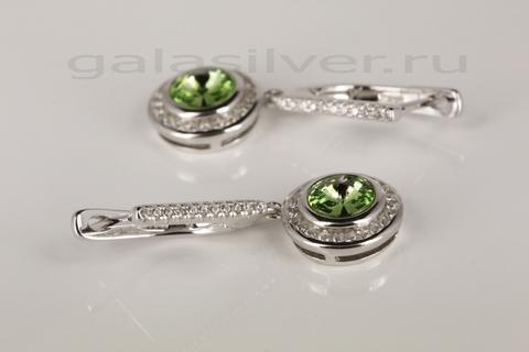 Серьги с кристаллом Сваровски и цирконом из серебра 925