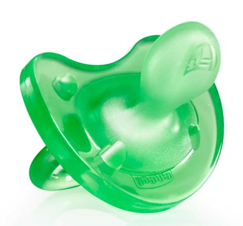 Chicco. Пустышка силиконовая Physio Soft 0-6 мес, зеленая