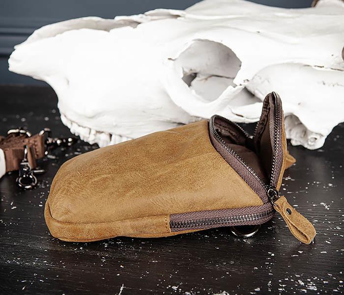 BAG517-2 Поясная сумка из натуральной кожи песочного цвета фото 10