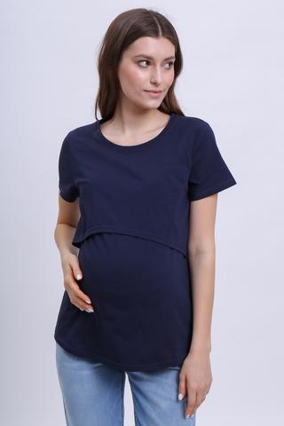 Футболка для беременных и кормящих 10590 синий