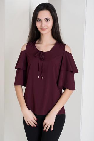 Одрі. Молодіжна блуза з воланами. Бургунді