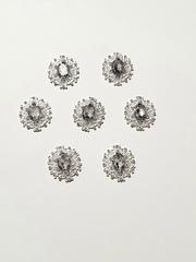 Кабошон - украшение со стразами овальное ажурное 25*28 мм, металлическое, 1 шт.