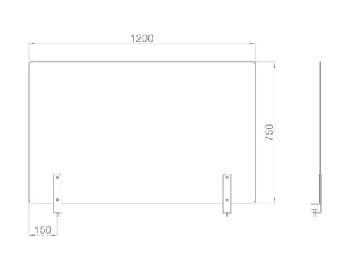 Настольный экран на струбц. Ш.1200мм В.600/750мм