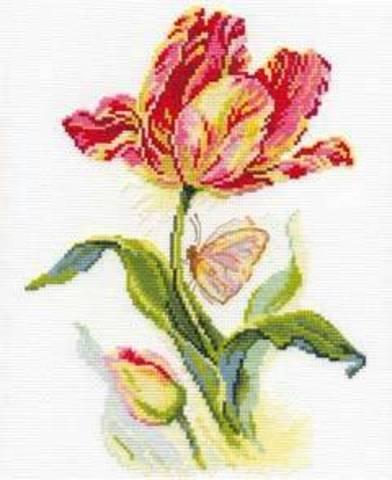 Тюльпан и бабочка¶Размер: 19х25 см ¶Кол-во цветов: 20