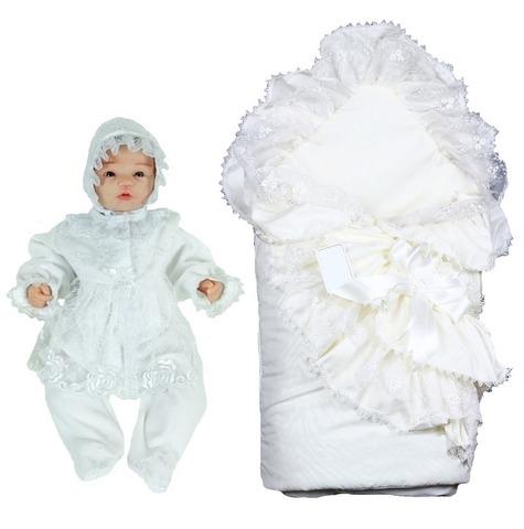 Комплект на выписку для новорожденных летом Алиса белый