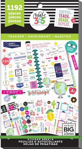 Блокнот со стикерами для ежедневника Create 365 Happy Planner Sticker Value Pack-BIG Teacher- 1192шт