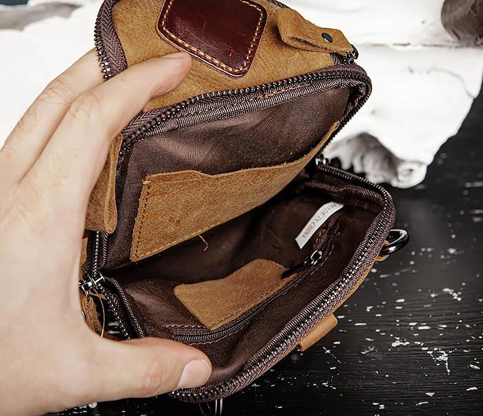 BAG517-2 Поясная сумка из натуральной кожи песочного цвета фото 12