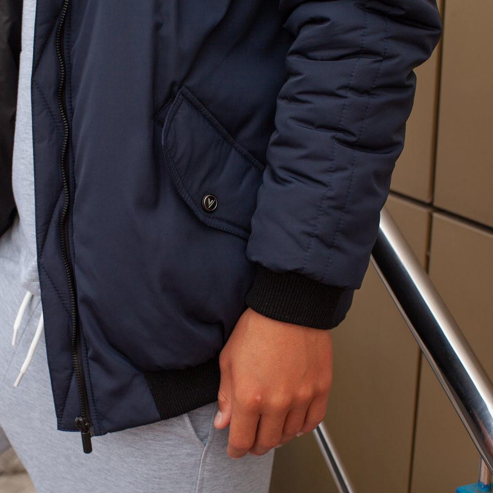 Демісезонний бомбер синього кольору з водовідштовхувальної плащової тканини на хлопчика