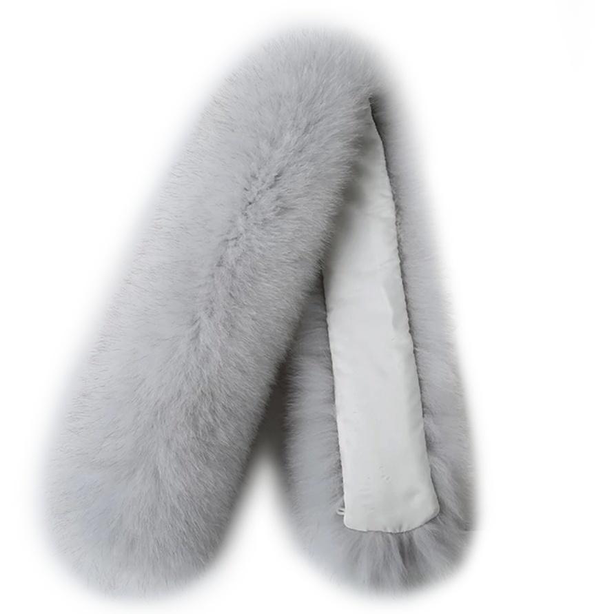 Опушка меховая на капюшон из натурального меха песца 70 см. Серый.