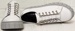 Низкие кеды кроссовки натуральная кожа белые Guero G146 508 04 White Gray.