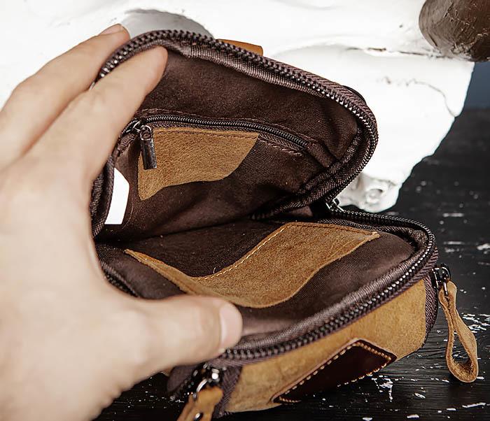 BAG517-2 Поясная сумка из натуральной кожи песочного цвета фото 13